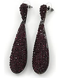 De color morado de cristal de Swarovski pendientes de lágrima en tono negro Metal - cm 7,5, longitud