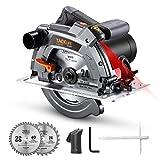 TACKLIFE Sega Circolare, Protezione e Pattino in Alluminio, 65 mm (90 °) e 43 mm (45 °) Profondità di Taglio, 24T e 40T Lame, Guida Laser, 1500 W, Velocità 5000 rpm - PES03A