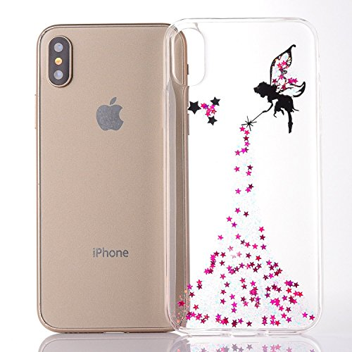 iPhone X 5.8 Pouce Coque Silicone Paillette Bling Bling Crystal Case,iPhone X Coque Ultra-Mince Transparente Etui Housse avec Bling Diamant,iPhone X Bling Brillant Glitter Transparente Soft Slim Silic Fairy Girl 4