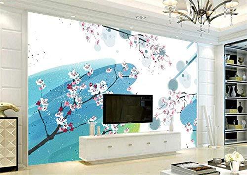 BHSWD Chinesische Tapeten Für Wände 3D Tinte Malerei Vliestapeten Blau Blumen Baum Wandbilder Schlafzimmer Wohnzimmer Hause Dekorative-350 * 260 cm - 350 Tinte
