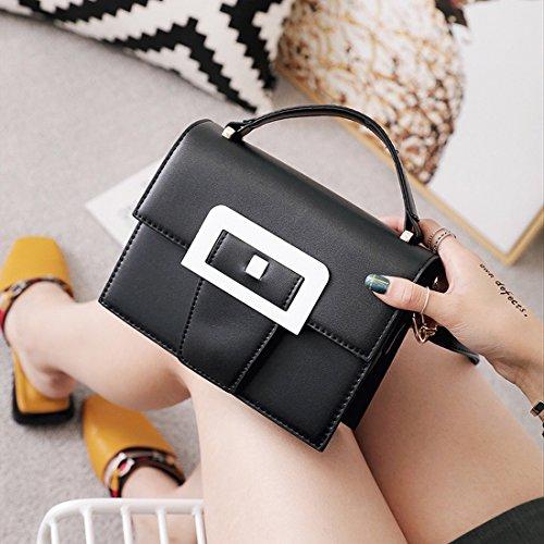 Weibliches Einfaches Kleine Quadratische Tasche Schulter Messenger Tasche Hit Farbenpaket Schwarz