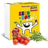 Huerto urbano ecológico educativo para niños, Planta, juega y cocina con Brotes de Tomates Cherry y Rúcula