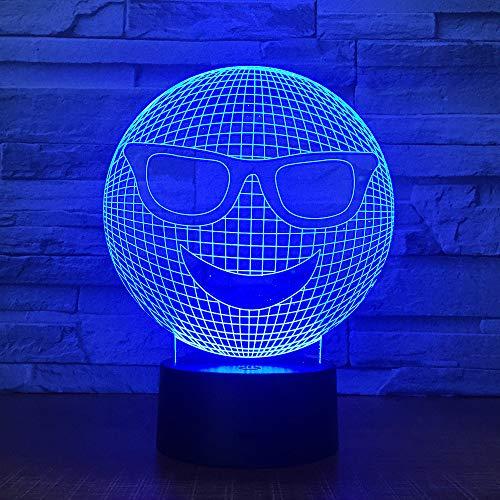 Bbdeng 3D-Nachtlicht Energie Sparen LED-Touch-Farbe Beleuchtung Kreative Kinder Schlafen Tischlampe USB Oder Batterie Sonnenbrille Gesicht Remote control