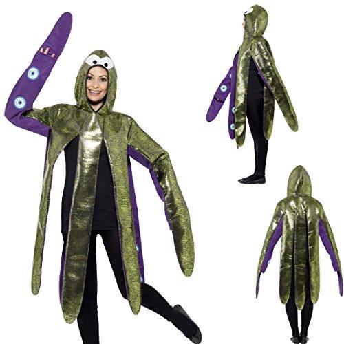 Tintenfisch Lila Kostüm - Oktopus Kostüm Tierkostüm Krake unisex Karnevalskostüm Tintenfisch Faschingskostüm Sepie Fastnachtskostüm Octopus Mottoparty Unterwasserwelt