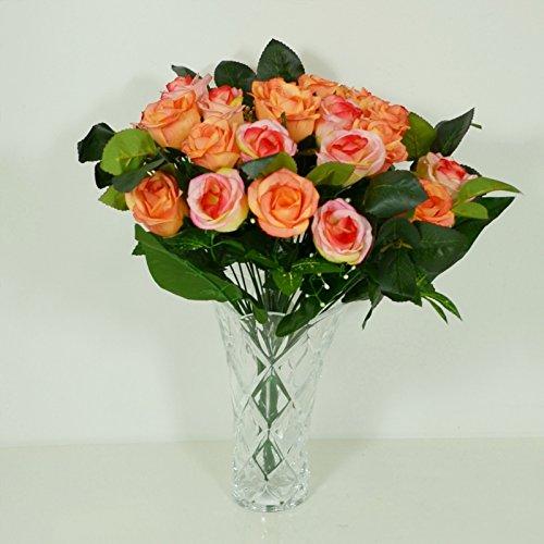 Bouquet de 24 Roses Artificielle Orange - Cimetiere Decoration Maison - 743