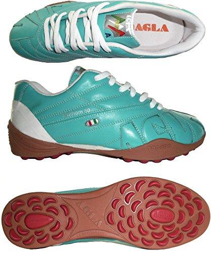 AGLA PROFESSIONAL FANTHOM 60 EXE OUTDOOR scarpe pelle calcetto futsal calcio a 5 anti-shock system (39.5 EU, Sky Blue)