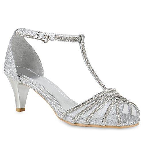 Stiefelparadies Damen Riemchensandaletten mit Pfennigabsatz Strass T-Strap Flandell