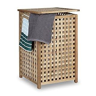 Relaxdays Panier à linge bois noyer corbeille à linge couvercle HxlxP 67,5 x 45,7 x 45 cm capacité 75L trieur de linge lessive bois sac en lin, couleur naturelle