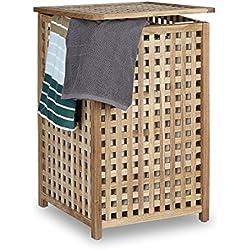 Cesto para ropa sucia Relaxdays de madera de nogal, canasta de almacenamiento con tapa, 67,5 x 45,7 x 45,7cm, organizador de ropa sucia con bolsa de lino, capacidad de 75l, natural