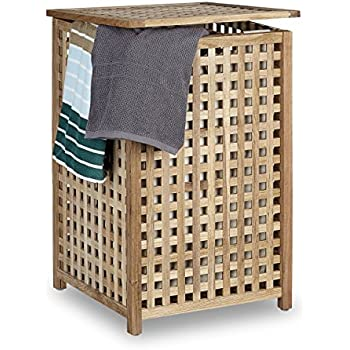 Relaxdays Walnut Laundry H&er Wooden Laundry Storage Bin Basket with Lid 67.5 x 45.7 x 45.7 cm Laundry Organizer Laundry Box Wood with Linen Sack Bag ...  sc 1 st  Amazon UK & Wooden Laundry Bin - Natural.: Amazon.co.uk: Kitchen u0026 Home Aboutintivar.Com
