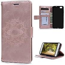 KASOS Huawei P8 Lite 2015 / 2016 Funda con Tapa Estilo Libro Piel PU Cuero con Cordel y Dibujo Estampado de Flor Color Rosa Oro