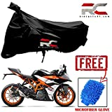 #7: Riderscart Bike Cover for KTM RC390 Polyester 190T Resistant UV Protection & Micro Fiber Dusting Cleaning Glove for Home,Office