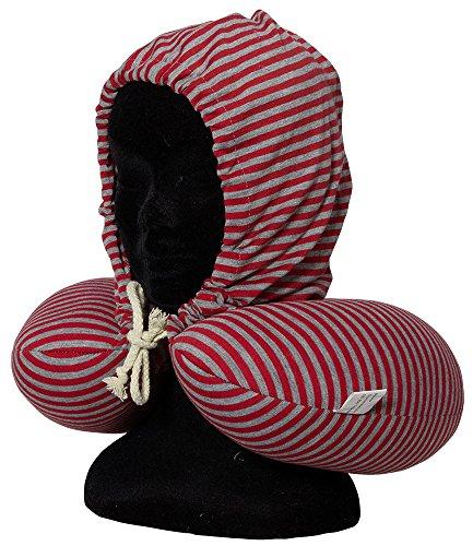 Nackenkissen mit Kapuze und Kordel / Maße ca.30x30cm / mit und ohne Kapuze tragbar / aus Polyester, Fütterung mit Styroporkügelchen / Farbe rot gestreift / Trendyshop365