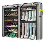KongEU scarpiera può Contenere Fino a 27 Paia di Scarpe, con Copertura, Stivali, Tacchi Alti e Stivali di Gomma, 90 x 30 x 100 cm Grigio