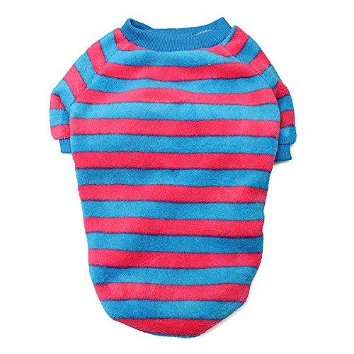 Tutoy Entzückende Bunte Streifen Haustier Hund Bunte T-Shirts -Rose & Blue-M (Shirt Entzückendes)