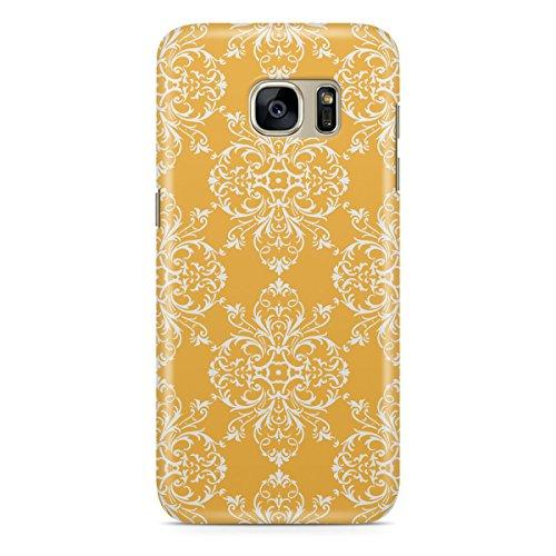 Queen Of Cases Coque pour Apple iPhone 5S-Jaune Rétro damassé-QUALITÉ Premium en plastique jaune