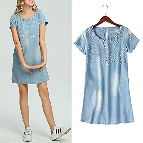 Dairyshop Summer Women Jeans Sundress Casual Denim Dress Beaded Party Tunic Short Sleeve
