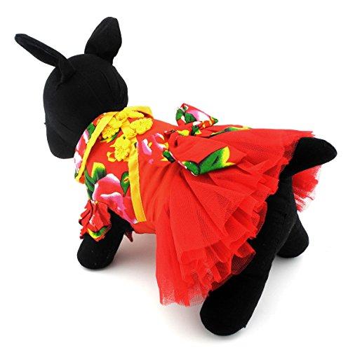 ein Hund Katze Kleidung Kostüm Traditionelle Chinesische Hochzeit Kleid Rock Kleidung Rot (Traditionelle Chinesische Hochzeit Kostüm)