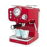 IKOHS THERA RETRO - Macchina del Caffè Express per caffè espresso e cappuccino, 1100 W, 15 bar, vaporizzatore regolabile, capacità 1,25 l, caffè macinato e monodose, con doppia uscita (Rosso)
