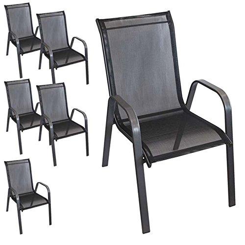 6 Stück stapelbarer Gartenstuhl Gartensessel Stapelstuhl Stapelsessel Stahlgestell pulverbeschichtet mit Textilenbespannung Gartenmöbel Terrassenmöbel Balkonmöbel Anthrazit / Schwarz