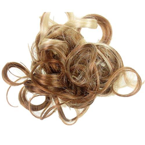 Tutti i colori disponibili! elastico per capelli rivestito con extension a ciocche ricce per creare chignon alto o basso biondo fragola con colpi di sole e biondo declorato