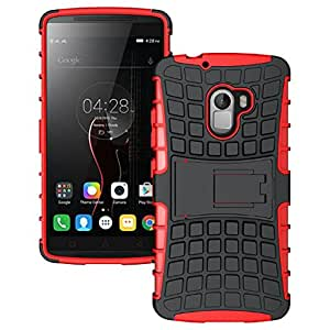 Heartly Flip Kick Stand Spider Hard Dual Rugged Armor Hybrid Bumper Back Case Cover For Lenovo K4 Note - Hot Red