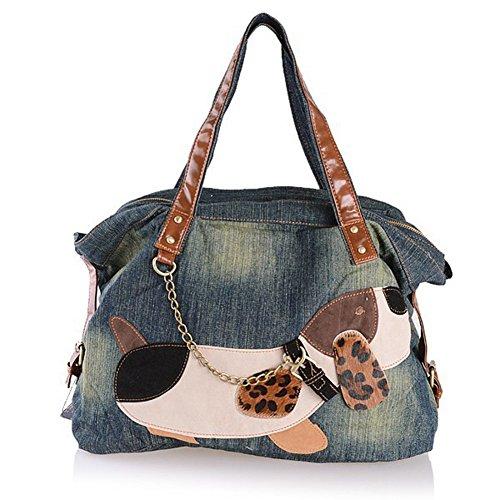 Packingworld Damen Mädchen Denim Schultertasche Beutel Schultasche Mehrere Taschen mit Kette und Leder Gürtel Hunder Bild Blau Blau