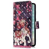 Uposao Kompatibel mit Huawei Y7 Pro 2019 Handyhülle Bling Glitzer Bunt Muster Leder Tasche Schutzhülle Brieftasche Handytasche Wallet Lederhülle Klapphülle Flip Case,Mandala Blumen Elefant