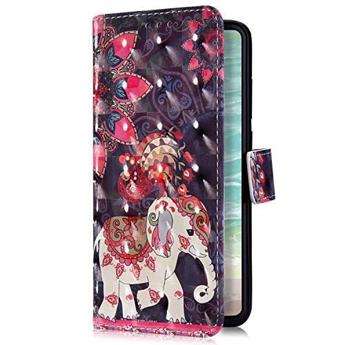 Uposao Kompatibel mit Huawei Mate 20 X Handyhülle Bling Glitzer Bunt Muster Leder Tasche Schutzhülle Brieftasche Handytasche Wallet Lederhülle Klapphülle Flip Case,Mandala Blumen Elefant