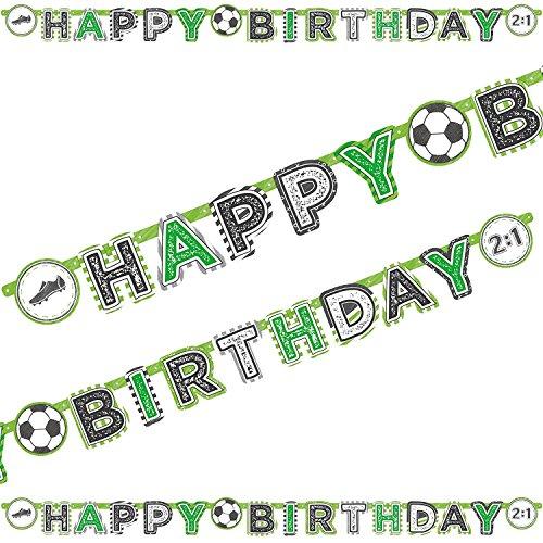 Happy Birthday Girlande Fußball/Banner Fussball/Schrift-Zug/Geburtstags-Feier, Geburtstags-Party, Kinder-Geburtstag, Geburtstags-Deko Dekoration Mottoparty Fussball