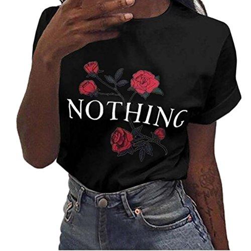 Tefamore donne nothing rose stampa maglie allentate estive a maniche corte camicetta (xl, nero)
