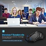 TOPELEK Ratón Gaming Inalámbrico Clic Silencioso 7 Botones USB portátil PC 2.4G óptico inalámbrico 2400 DPI 5 Niveles de ajuste con receptor nano para Windows Mac MacBook Linux-Ultra Ahorro de Energía