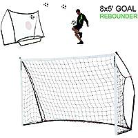 Quick Play Sport Ltd - Portería de fútbol (móvil, fuera, 200 cm, grande, jardín, partido, bolsa de transporte, portátil, acero, 5 pies (1,52 m)), color negro