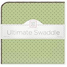 SwaddleDesigns - Puckdecke für Neugeborene in Grün (Schokopünktchen)