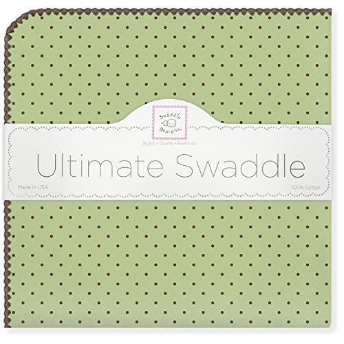 SwaddleDesigns Manta Envolvente Ultimate, Franela de Algodón de calidad superior, Lunares marrón sobre color pastel, Verde limón