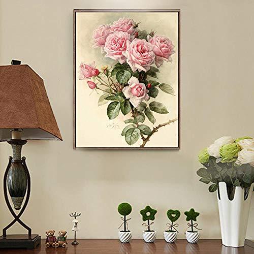 Zmlsr DIY Diamant lackiert voller diamanten Rose Blume runden diamanten Wohnzimmer Schlafzimmer c17 @ 50 * 70