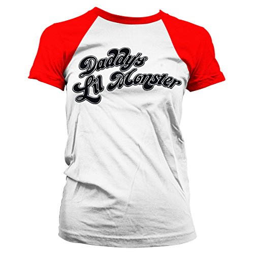 Officially Licensed Merchandise Suicide Squad DaddyŽs Lil Monster Baseball Girly Tee (White/Red), Small