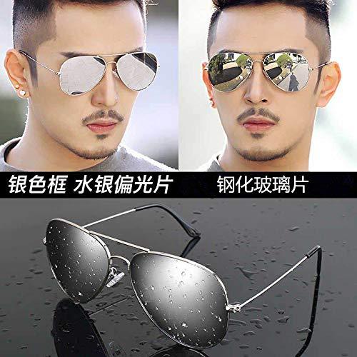 CFLFDC Sonnenbrillen Temperierte Glasbrille Sonnenbrille Männliche Fahrer Polarisierende Brille Polarisierende Fahrt Silberner Rahmen Quecksilbertabletten (Glaslinsen)