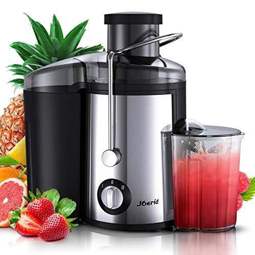 Joerid - Licuadora extractor de zumo de frutas y verduras, 2 velocidades, boca ancha de acero inoxidable, patas antideslizantes, sin BPA, con taza y cepillo de limpieza