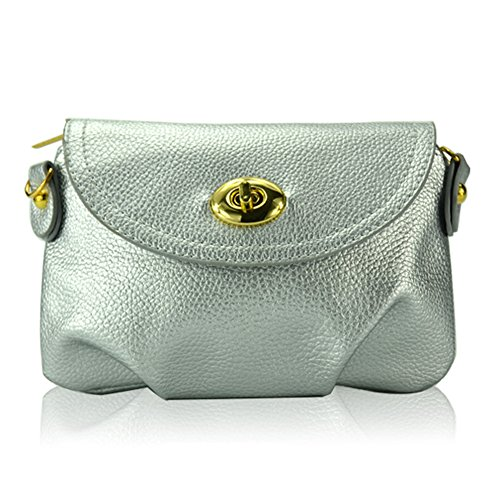 GSPStyle Damen Schultertasche Umhängetasche Purse Mini Handtasche Stil Silber