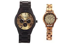 TSAR Wooden Gold and Champagne Dial Wood Watches- Couple's Watch Tri Modern and Tsarina Champagne