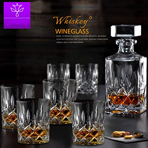Chuangrong decanter set con 6 bicchierini in cristallo old fashioned