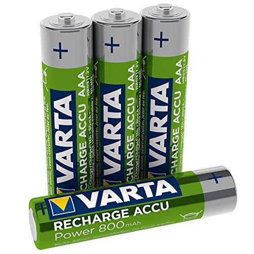 Varta Rechargeable Accu Ready2Use vorgeladener AAA Micro Ni-Mh Akku 4er Pack 800 mAh - wiederaufladbar ohne Memory-Effekt - sofort einsatzbereit (Design kann abweichen)