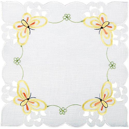 Arsvita Tischdecke mit Stickerei, mit Blumen oder Schmetterlingen bestickte 30x30cm Decke für den Tisch,in vielen verschiedenen Designs verfügbar (Gelb - Orange/Eckig)