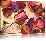 getrocknete Rosenblüten Format: 60x40 auf Leinwand, XXL riesige Bilder fertig gerahmt mit Keilrahmen, Kunstdruck auf Wandbild mit Rahmen, günstiger als Gemälde oder Ölbild, kein Poster oder Plakat