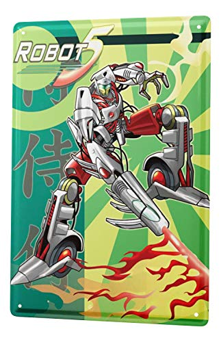 LEotiE SINCE 2004 Plaque en Métal Métallique Poster Mural tin Sign Cartoon Art Amusant Manga Robots Flammes Metal Plates 20X30 cm