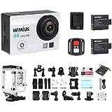 Caméra de Sport 4K, WiMiUS Q3 Action Cam 4K HD 16MP Wifi, Camera Embarquée Sport Etanche 40M avec Télécommande + 2 Batteries (Argent)