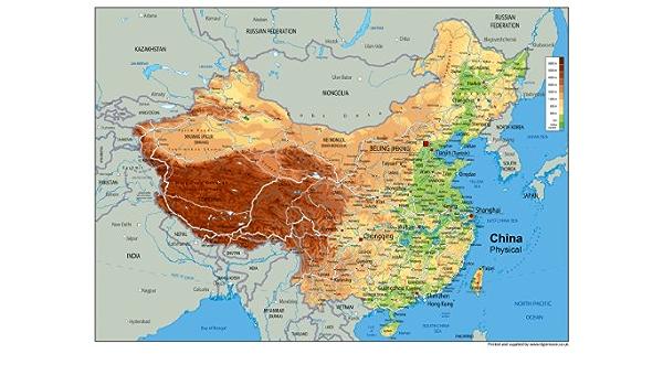 Cartina Geografica Della Cina.Cina Mappa Fisica Carta Plastificata A0 Dimensioni 84 1 X 118 9 Cm Amazon It Cancelleria E Prodotti Per Ufficio
