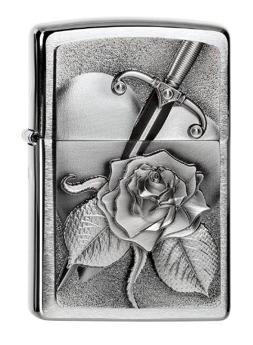 Zippo Feuerzeug 2004311 Heart with Rose Benzinfeuerzeug, Messing, Edelstahloptik, 1 x 3,5 x 5,5 cm