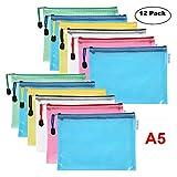 Confezione da 12buste portadocumenti A5, borsa portadocumenti mesh zipper file di plastica per scuola ufficio Homework organizer per cosmetici accessori da viaggio